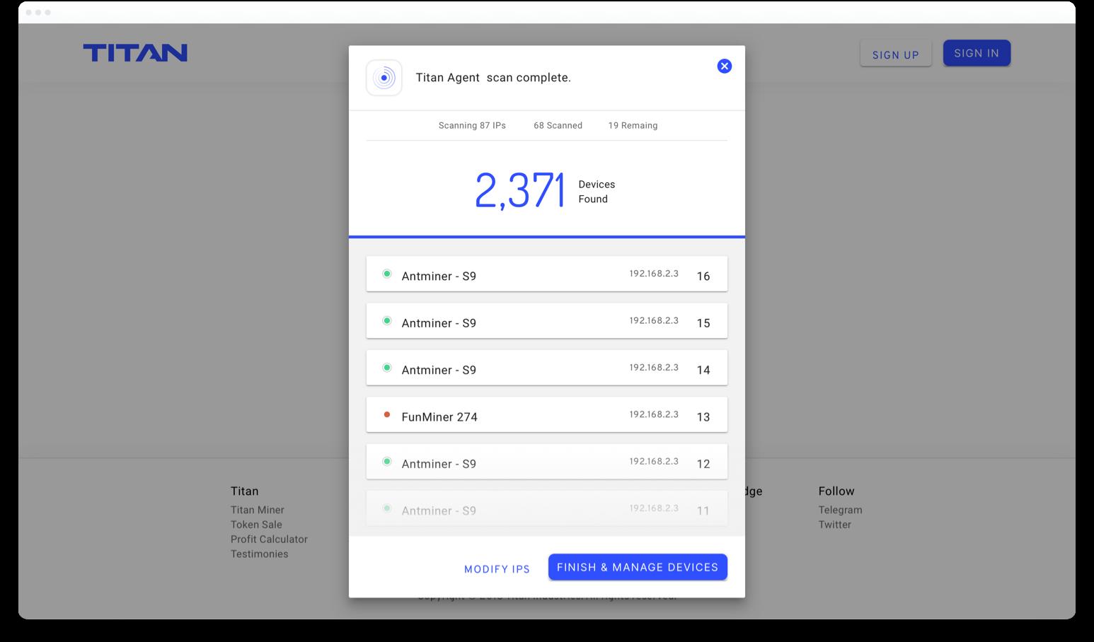 titan app popup in browser