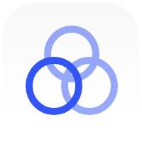 overlapping blue rings
