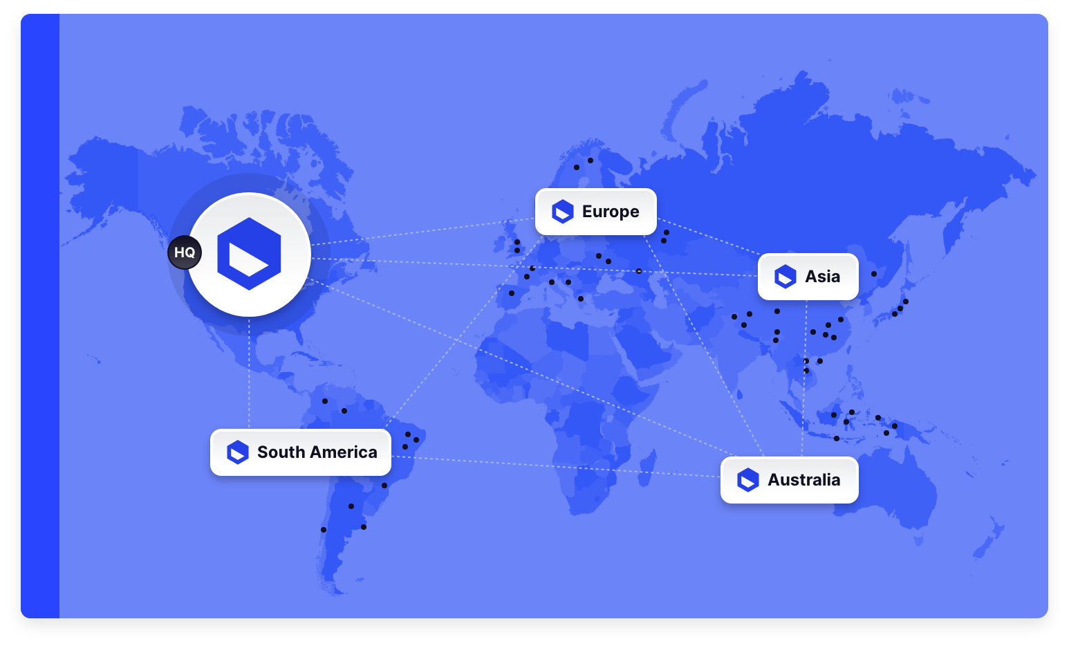 Blue world map with locations highlighted